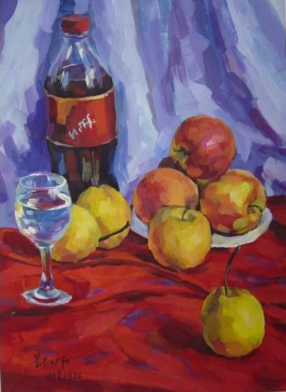 可乐苹果--水粉画写生