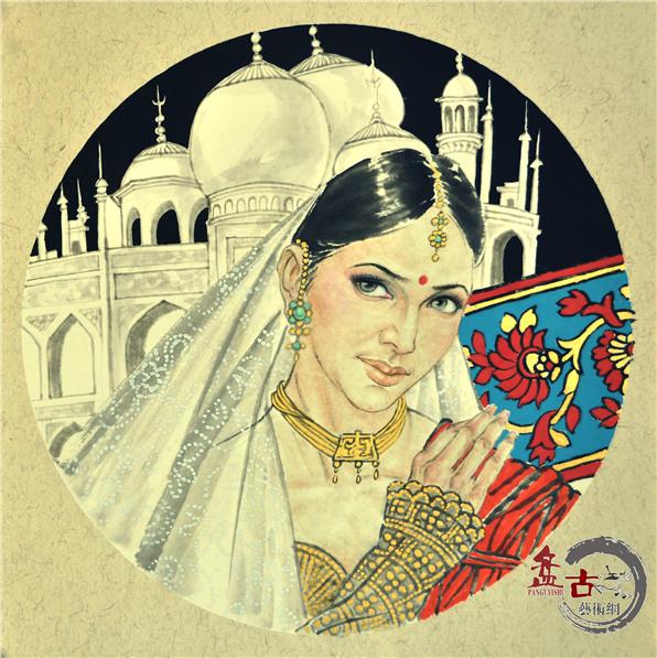 印度妇女(作者:范扬 尺寸:50x50cm 创作年代 2015年)